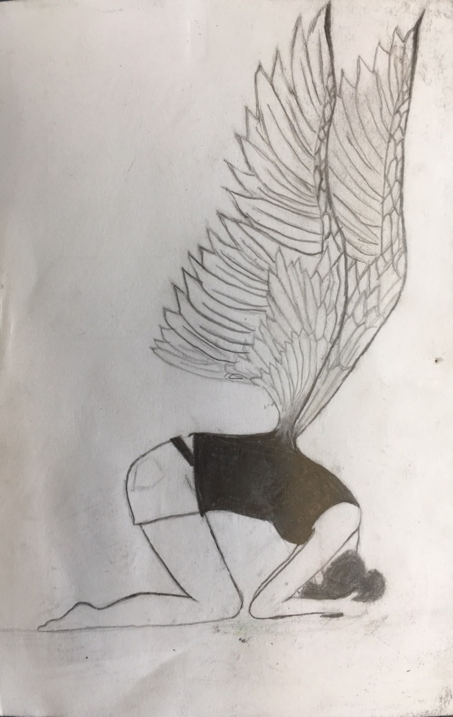 girl bent with wings